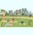 people do sport in park yoga bicycling scating vector image vector image