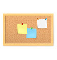 realistic corkboard with pushpins and blank paper vector image vector image