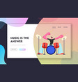 rock star drummer playing hard music with sticks vector image
