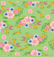 seamless pattern spring flowers on white vector image