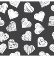 Seamless pattern with white hearts on black