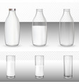 set of realistic glasses and bottles with a milk vector image