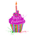 silhouette colorful birthday cupcake vector image