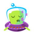 singing green alien in a flying saucer cute vector image vector image