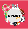 sport club sport equipment pink background vector image
