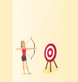 sportswoman aiming with a bow and arrow at target vector image vector image