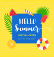 summer sale banner with summer related object vector image vector image