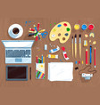 top view set of digital artist items vector image vector image