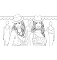 two fashion girls coloring vector image vector image