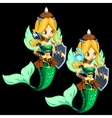 Two fighting blonde mermaid on a black background vector image vector image