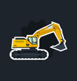 yellow excavator the object circled white outline vector image vector image