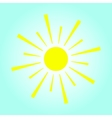 Yellow sun on blue background vector image