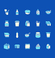 yogurt packaging flat glyph icons dairy products vector image vector image