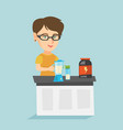 young caucasian woman making protein cocktail vector image vector image