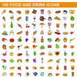 100 food and drink icons set cartoon style vector image vector image