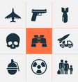 army icons set with gun refugee skull and other vector image vector image