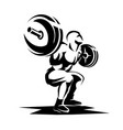 athlete with barbell silhouette weight lifting vector image vector image
