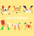 banner with top view various hands creating vector image