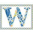 Blue letter W vector image vector image