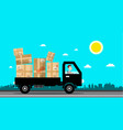 car with packages delivery service cartoon flat vector image vector image