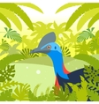 cassowary on jungle background vector image vector image