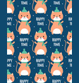 christmas seamless pattern with cute cat vector image vector image