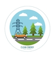 clean energy car road electric tower landscape vector image