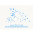 cloud computing isometric thin line design vector image vector image