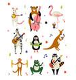 collection cute cartoon animals musicians vector image