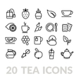 collection tea line icons vector image vector image