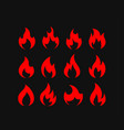 color flames isolated on black background set vector image vector image