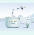 cosmetic cream and pipette with serum vector image