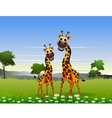 cute couple giraffe cartoon with landscape backgro vector image vector image
