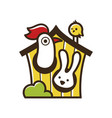cute funny farm animals isolated on white vector image