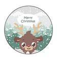 cute reindeer christmas greeting vector image vector image