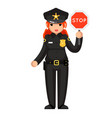 female police officer stop sign policeman woman vector image vector image