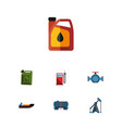 flat icon petrol set of flange jerrycan vector image vector image