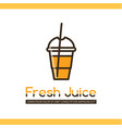 food logotype with juice in disposable cup vector image vector image