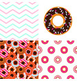 Glazed donuts patterns set cute sweet doughnuts