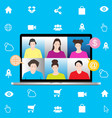 group people in online meeting image vector image vector image
