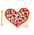 I love pizza Heart symbol in form of pizza Italian vector image vector image