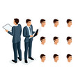isometric icons womans emotions 3d body vector image vector image