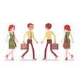 male and female clerk walking vector image vector image