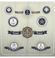 Nautical anchor travel labels with ray burst and vector image vector image