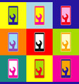 phone icon with settings pop-art style vector image vector image