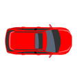 red car top view flat and solid color style vector image vector image