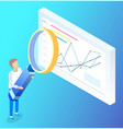 researching with magnifier graph report vector image vector image