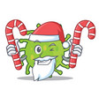 santa with candy green bacteria mascot cartoon vector image vector image