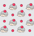 seamless pattern of spiky hedgehogs with red vector image vector image