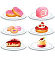 set of dessert on plate vector image